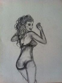 Frau, Blick, Winken, Zeichnungen