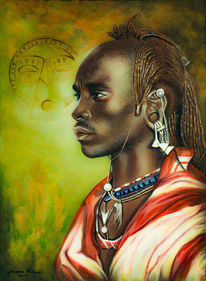 Kenia, Portrait, Acrylmalerei, Massai