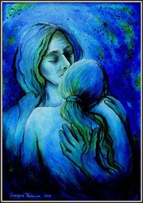 Liebe, Blau, Malerei, Zärtlichkeit