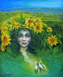Frau, Insekte, Acrylmalerei, Fantasie