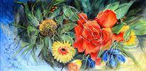 Blumen, Grün, Rot, Acrylmalerei