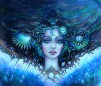 Zeichnung, Universum, Fantasie, Frau