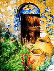 Acrylmalerei, Farben, Orange, Blau