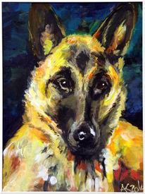 Hund, Schäferhund, Malerei