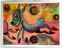 Lachen, Zeichnung, Tiere, Pferde