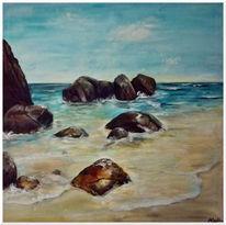 Küste, Meer, Felsen, Malerei