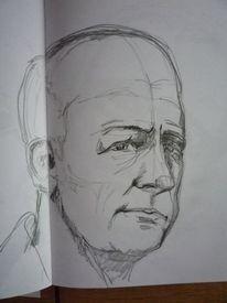 Skizze, Mann, Portrait, Bleistiftzeichnung