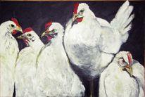 Schwarz weiß, Huhn, Malerei, Tiere