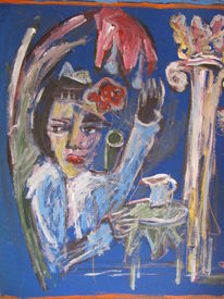 Frau, Blumen, Kanne, Blau