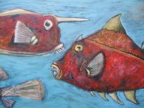 Maul, Fisch, Rot, Zähne