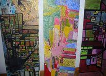 Abstrakt, Drunter und drüber, Acrylmalerei, Malerei