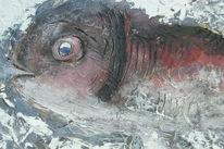Spachteltechnik, Kratzen, Fisch, Malerei