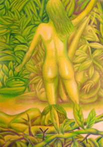 Urwald, Pastellmalerei, Akt, Fantasie