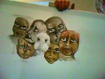 Gesichter gedanken, Malerei