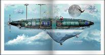 Fantasie, Computergrafik, Zeppelin, Luftschiff