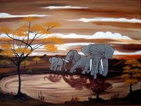 Landschaft, Elefant, Exotische, Malerei