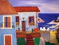 Haus, See, Frieden, Malerei