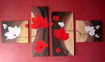 Exotische, Vierteilig, Acrylmalerei, Blüte
