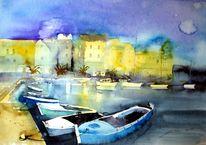 Kroatien, Boot, Aquarellmalerei, Hafen