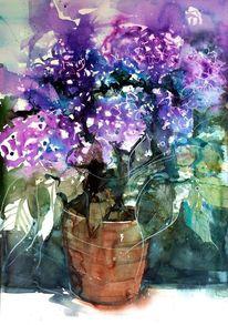 Stillleben, Terrakotta, Blumen, Aquarellmalerei