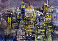 Newyork, Aquarellmalerei, Manhattan, Bank of america
