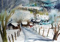 Winterlandscape, Bauerndorf, Pinzgau, Aquarellmalerei
