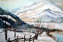 Aquarellmalerei, Winterlandscape, Pinzgau, Winterlandschaft