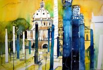 Stadtlandschaft, Kirche, Rom, Aquarellmalerei