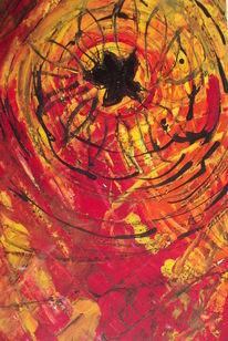 Spinne, Schmetterling, Netz, Malerei