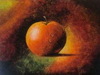 Tropfen, Apfel, Ölmalerei, Stillleben