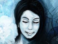 Frau, Blau, Baum, Blumen