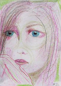 Frau portrait ölkreide, Zeichnungen, Bitter