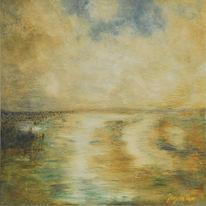 Meer, Landschaft, Wattenmeer, Malerei