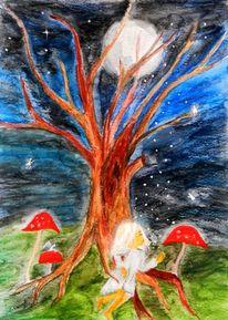 Mond, Schlafendes kind, Fantasie, Nacht