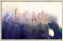Landschaft, Menschen, Aquarellmalerei, Pinsel