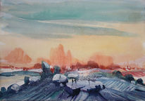 Farben, Aquarellmalerei, Mystik, Felsenlandschaft