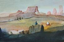 Aquarellpinsel, Felsenlandschaft, Gegend, Welt