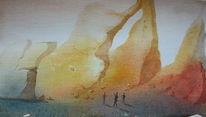 Menschen, Aquarellmalerei, Felsenlandschaft, Welten