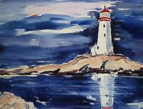 Meer, Landschaft, Leuchtturm, Aquarell