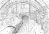 Unterirdisch, Zug, Bahnhof, Grafit