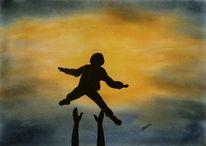 Zuwendung, Pastellmalerei, Sonne, Kind