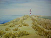 Acrylmalerei, Leuchtturm, Liste, Malerei