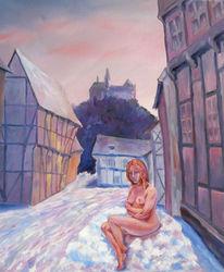Fachwerk, Winterlandschaft, Winter, Ölmalerei
