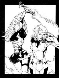 Comic, Girls, Schwarz weiß, Zeichnungen