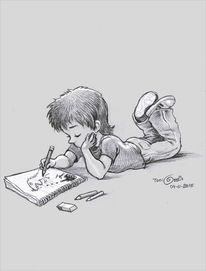 Bleistiftzeichnung, Kind, Zeichnen, Zeichnung