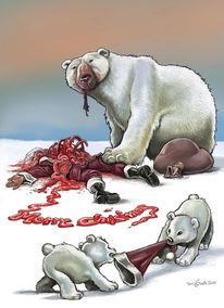 Nordpol, Weihnachtsmann, Eisbär, Illustrationen