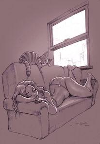 Schlaf, Katze, Frau, Zeichnungen