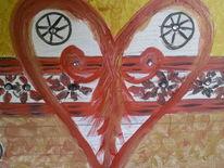 Eingearbeitet, Acrylmalerei, Kleine steine, Pinsel