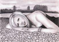 Frau, Sinnlichkeit, Bleistiftzeichnung, Liegend