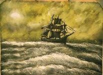 Meer, Schiff, Sturm, Malerei